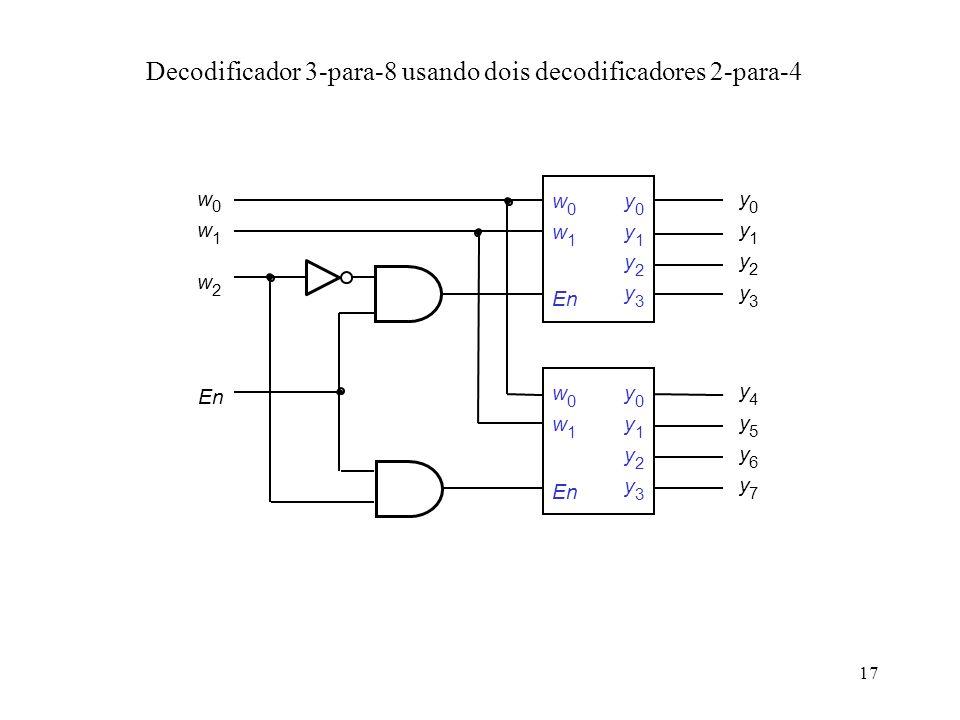 Decodificador 3-para-8 usando dois decodificadores 2-para-4