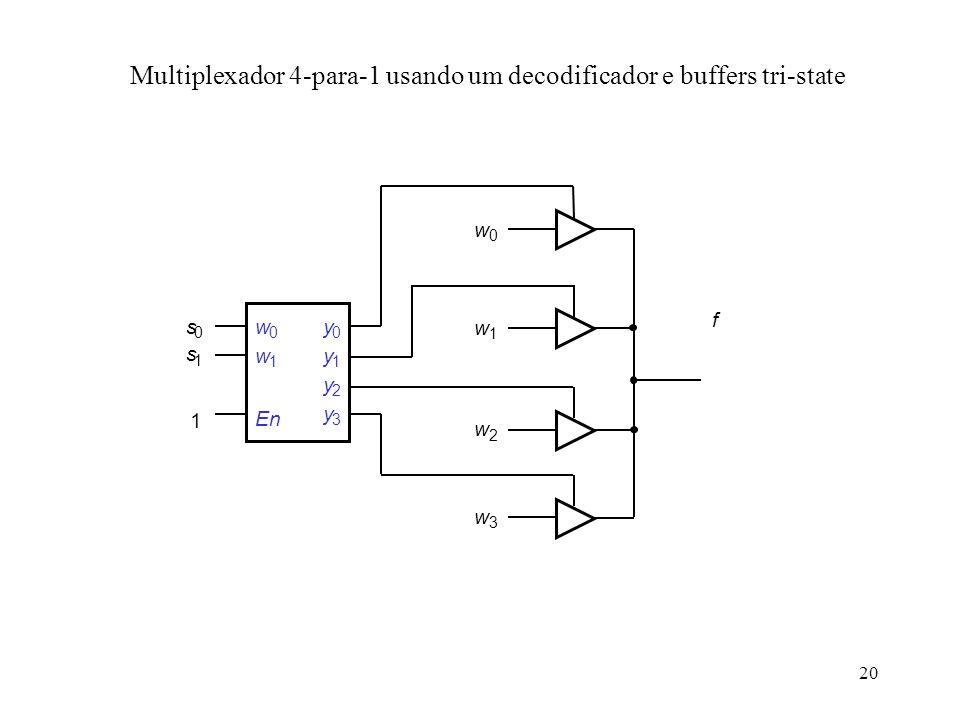 Multiplexador 4-para-1 usando um decodificador e buffers tri-state