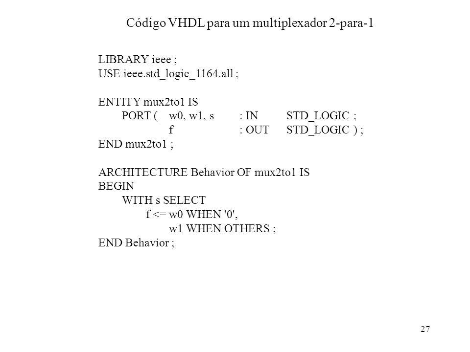 Código VHDL para um multiplexador 2-para-1