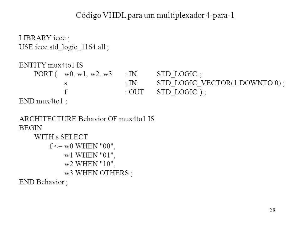 Código VHDL para um multiplexador 4-para-1