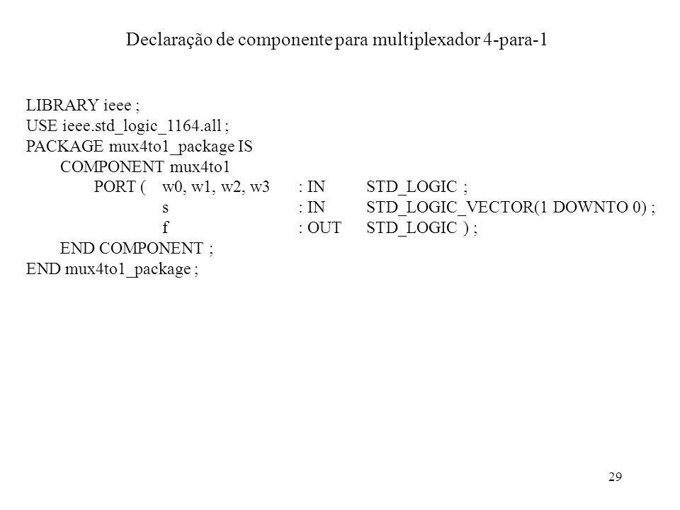 Declaração de componente para multiplexador 4-para-1