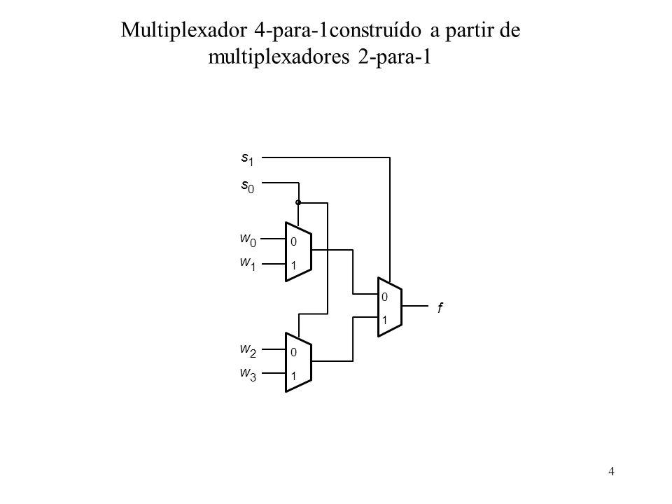 Multiplexador 4-para-1construído a partir de multiplexadores 2-para-1