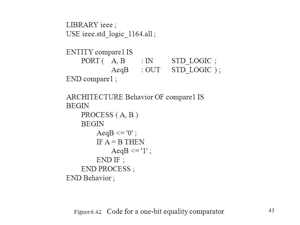 Figure 6.42 Code for a one-bit equality comparator