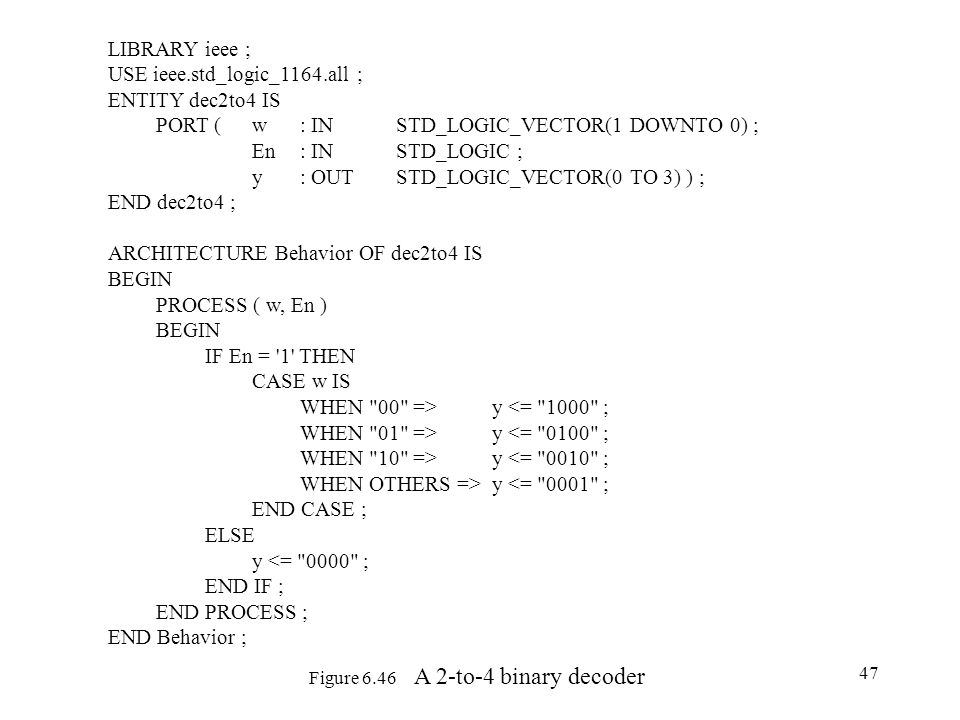 Figure 6.46 A 2-to-4 binary decoder