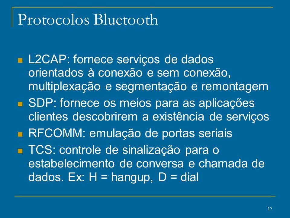 Protocolos Bluetooth L2CAP: fornece serviços de dados orientados à conexão e sem conexão, multiplexação e segmentação e remontagem.