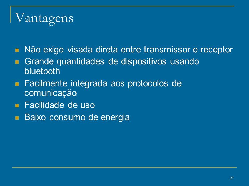 Vantagens Não exige visada direta entre transmissor e receptor