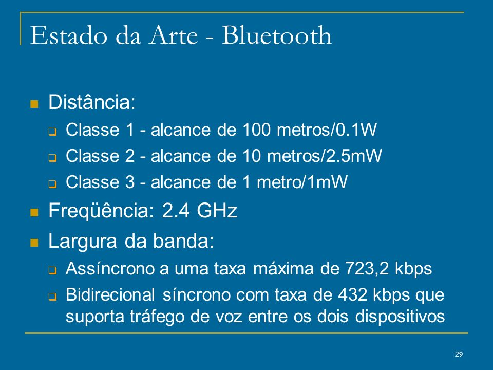 Estado da Arte - Bluetooth