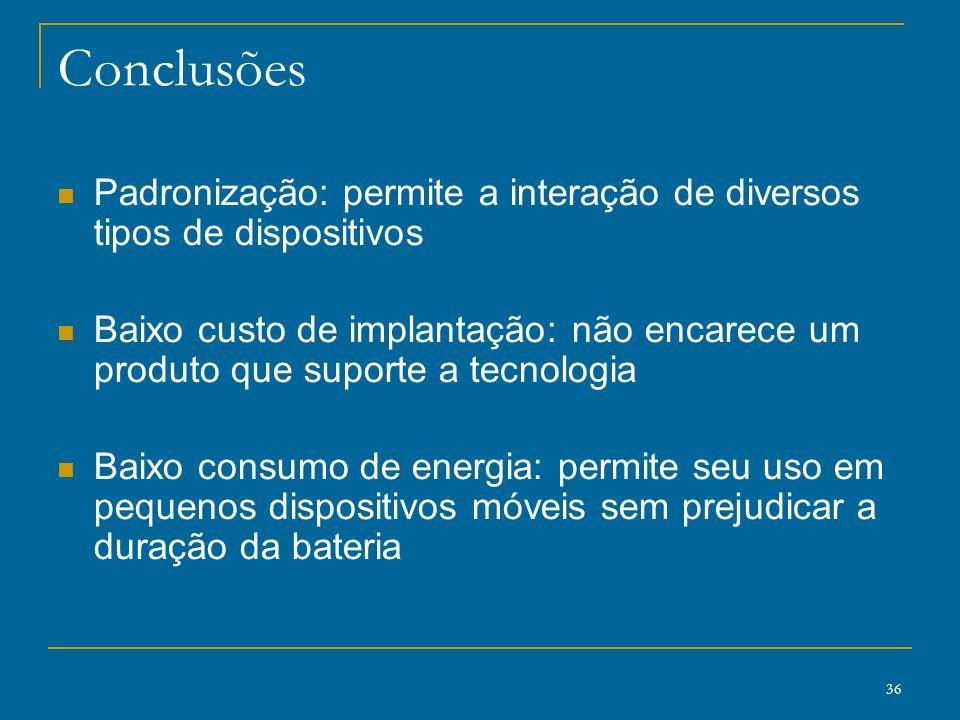 Conclusões Padronização: permite a interação de diversos tipos de dispositivos.