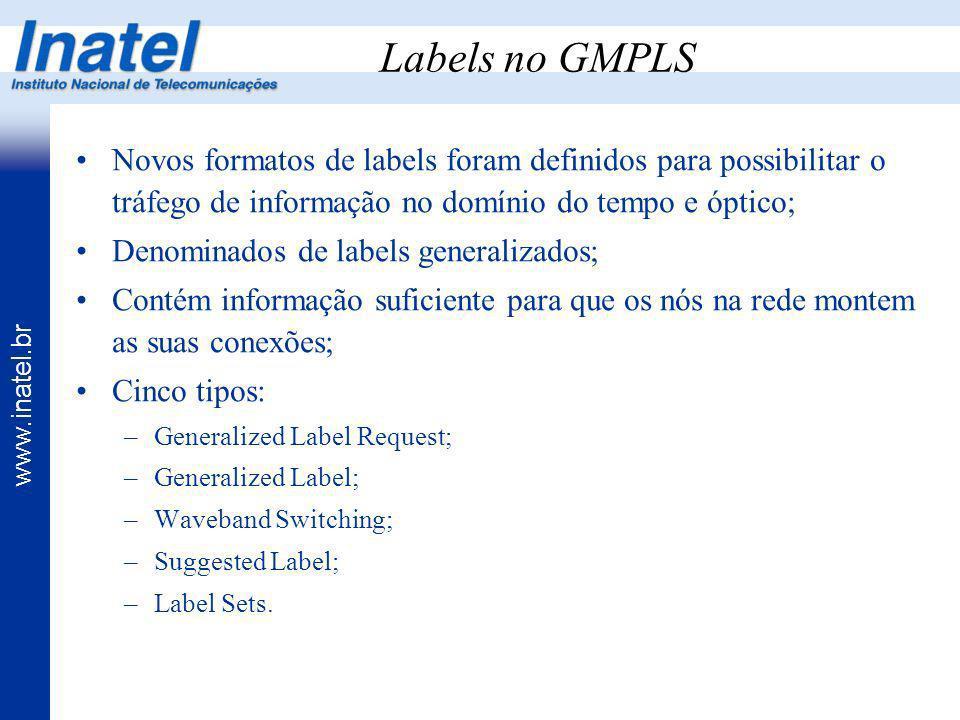 Labels no GMPLS Novos formatos de labels foram definidos para possibilitar o tráfego de informação no domínio do tempo e óptico;