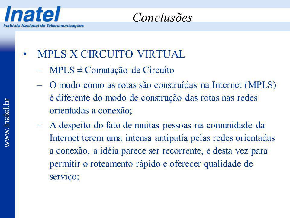 Conclusões MPLS X CIRCUITO VIRTUAL MPLS ≠ Comutação de Circuito