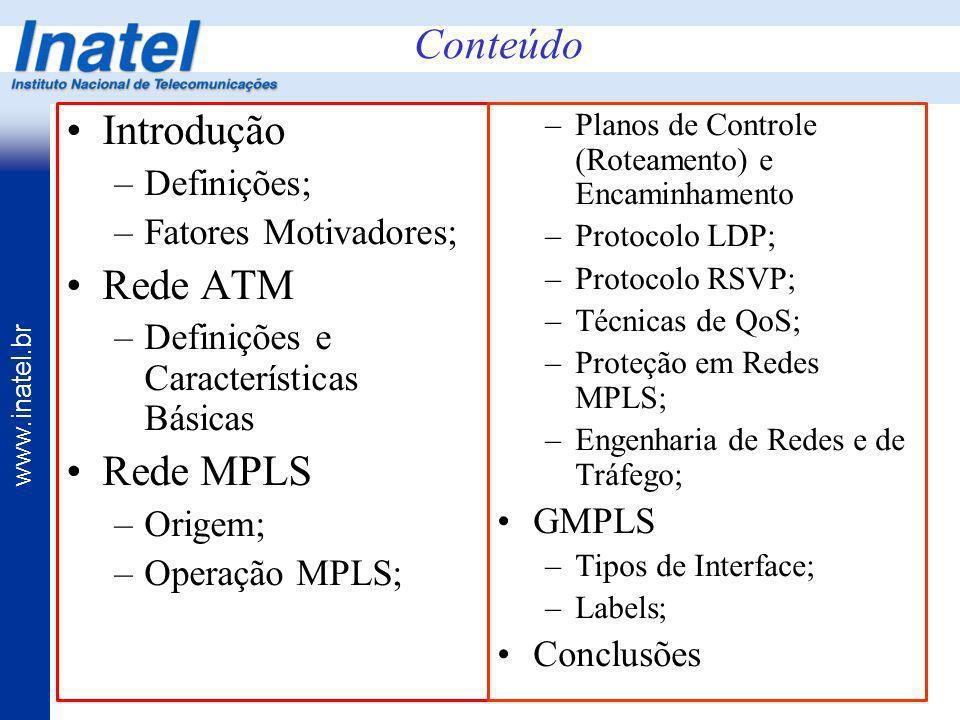 Conteúdo Introdução Rede ATM Rede MPLS Definições;