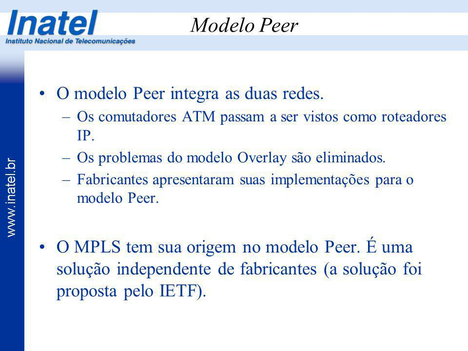 Modelo Peer O modelo Peer integra as duas redes.