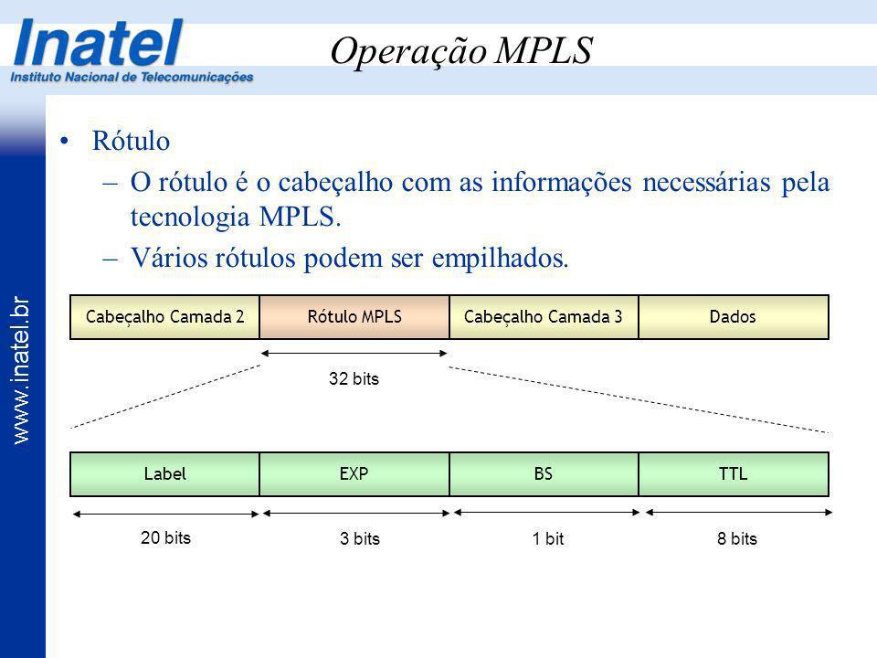 Operação MPLSRótulo. O rótulo é o cabeçalho com as informações necessárias pela tecnologia MPLS. Vários rótulos podem ser empilhados.