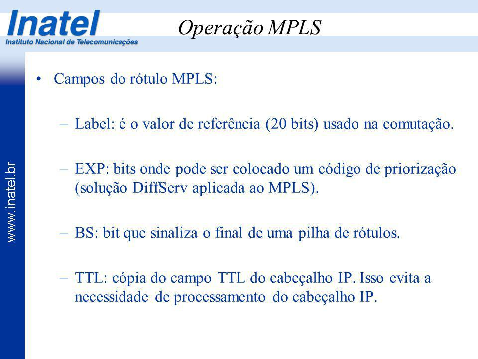 Operação MPLS Campos do rótulo MPLS: