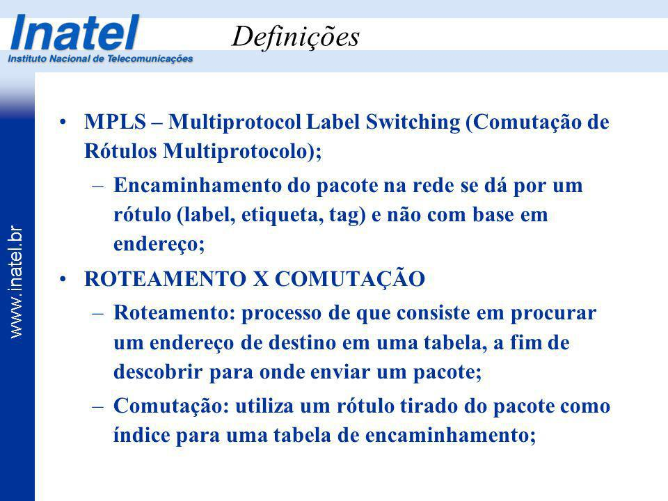Definições MPLS – Multiprotocol Label Switching (Comutação de Rótulos Multiprotocolo);