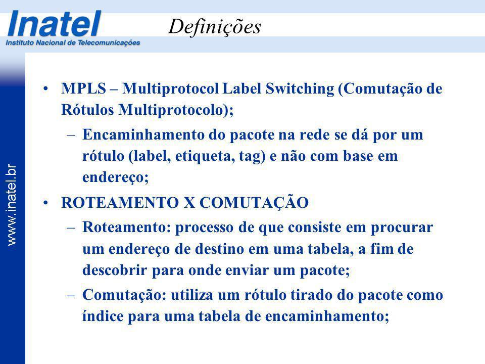 DefiniçõesMPLS – Multiprotocol Label Switching (Comutação de Rótulos Multiprotocolo);