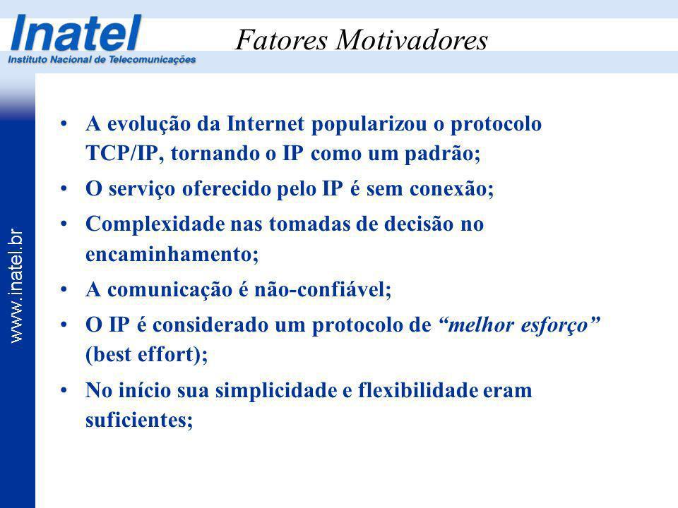 Fatores Motivadores A evolução da Internet popularizou o protocolo TCP/IP, tornando o IP como um padrão;