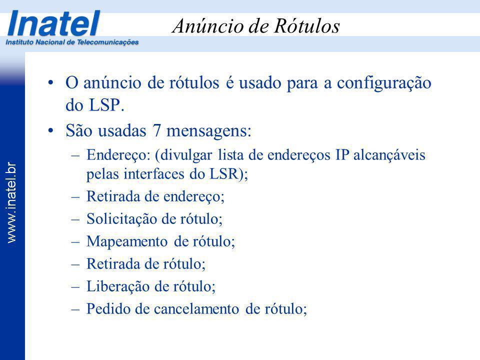 Anúncio de Rótulos O anúncio de rótulos é usado para a configuração do LSP. São usadas 7 mensagens: