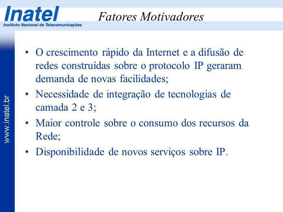 Fatores Motivadores O crescimento rápido da Internet e a difusão de redes construídas sobre o protocolo IP geraram demanda de novas facilidades;