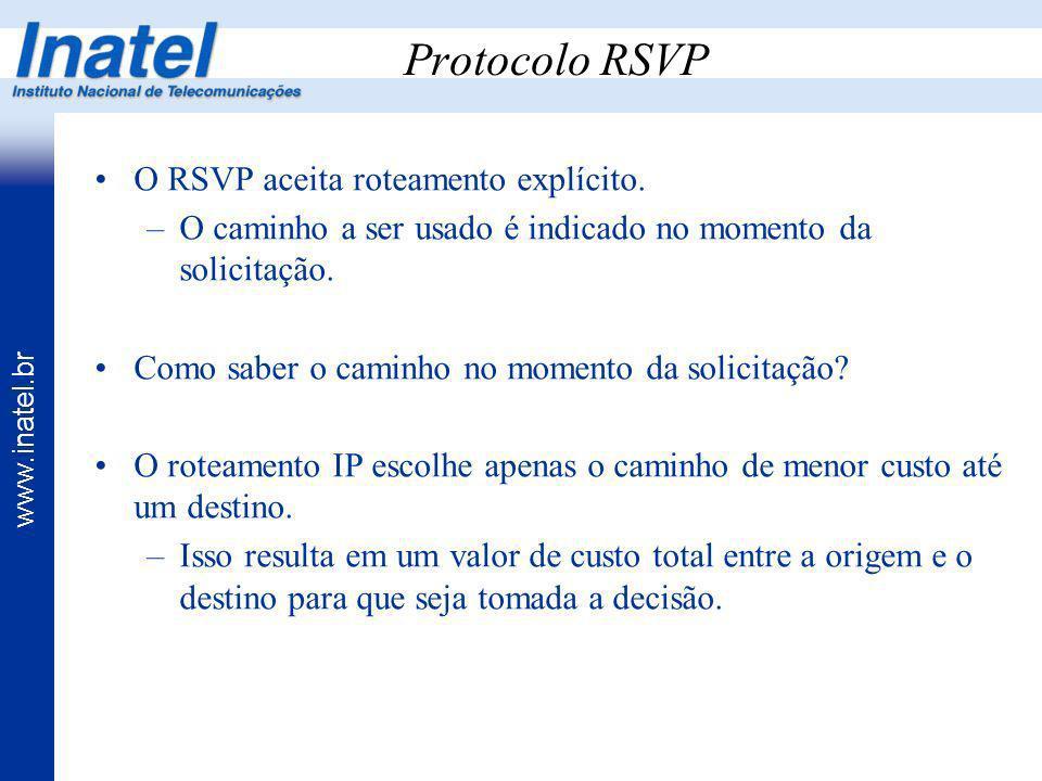 Protocolo RSVP O RSVP aceita roteamento explícito.
