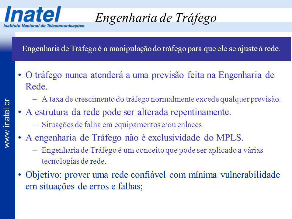 Engenharia de Tráfego Engenharia de Tráfego é a manipulação do tráfego para que ele se ajuste à rede.