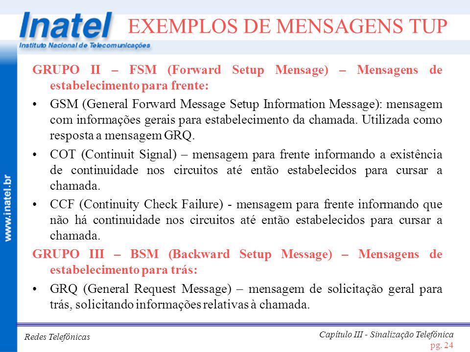 EXEMPLOS DE MENSAGENS TUP