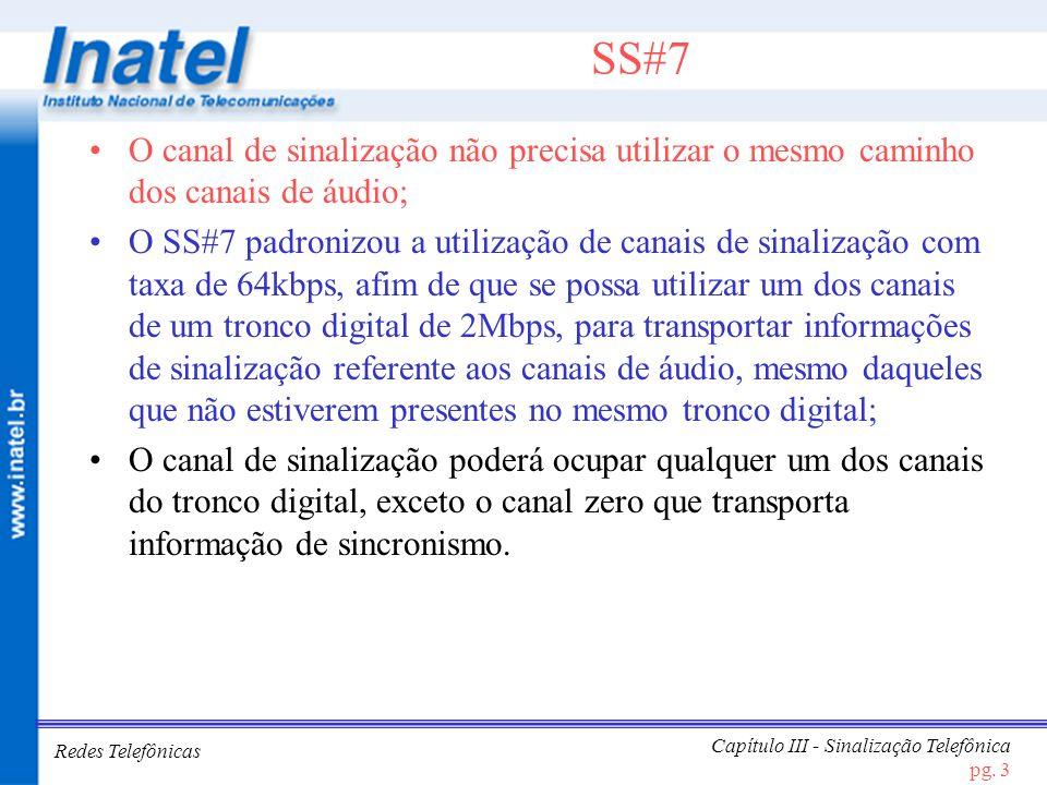SS#7 O canal de sinalização não precisa utilizar o mesmo caminho dos canais de áudio;