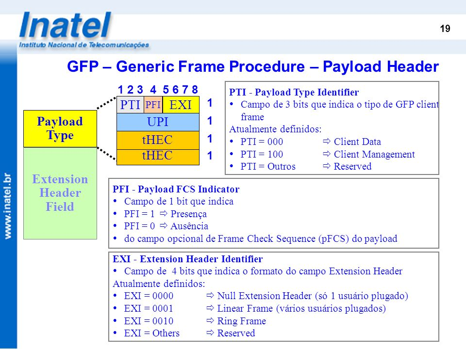 GFP – Generic Frame Procedure – Payload Header