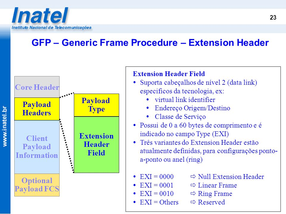 GFP – Generic Frame Procedure – Extension Header