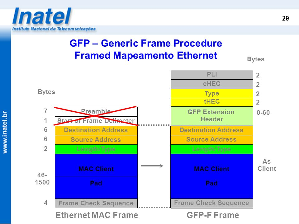 GFP – Generic Frame Procedure Framed Mapeamento Ethernet