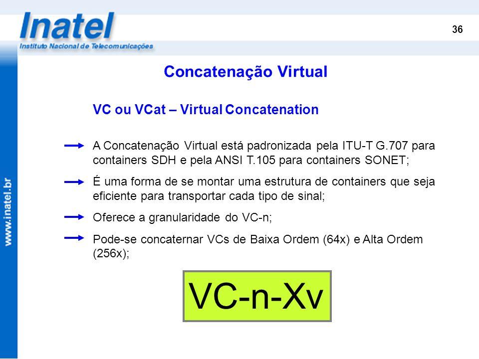VC-n-Xv Concatenação Virtual VC ou VCat – Virtual Concatenation