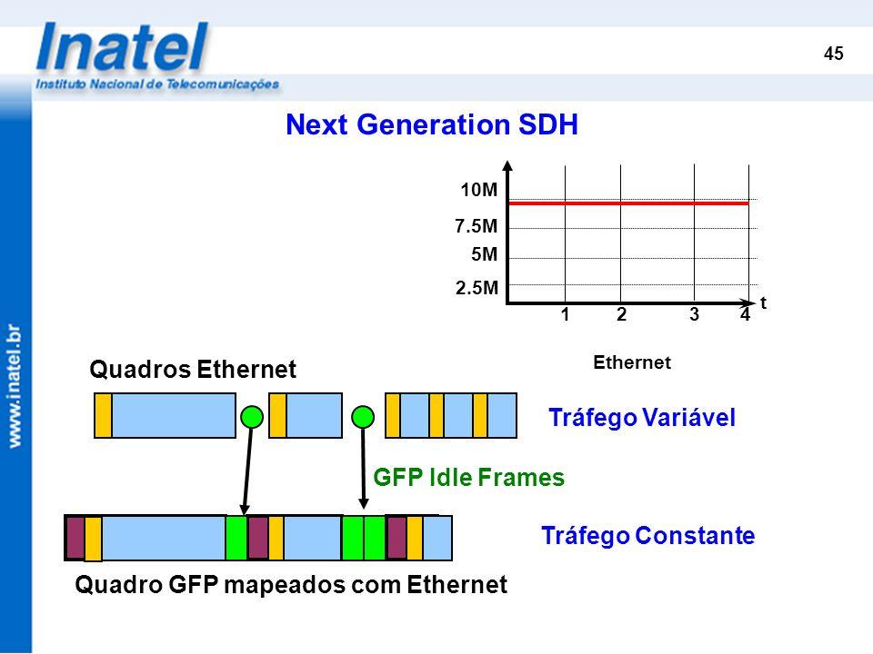 Next Generation SDH Quadros Ethernet Tráfego Variável GFP Idle Frames