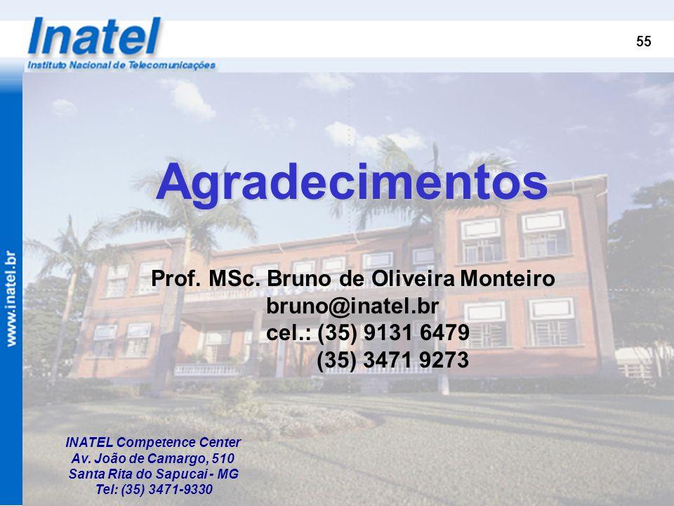 Agradecimentos Prof. MSc. Bruno de Oliveira Monteiro bruno@inatel.br