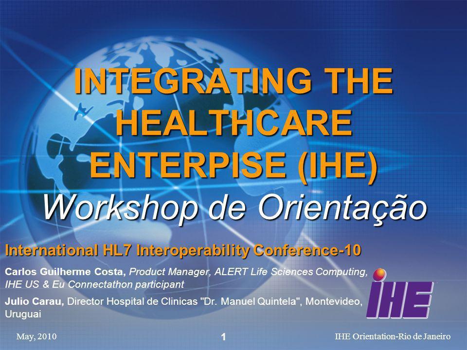 INTEGRATING THE HEALTHCARE ENTERPISE (IHE) Workshop de Orientação