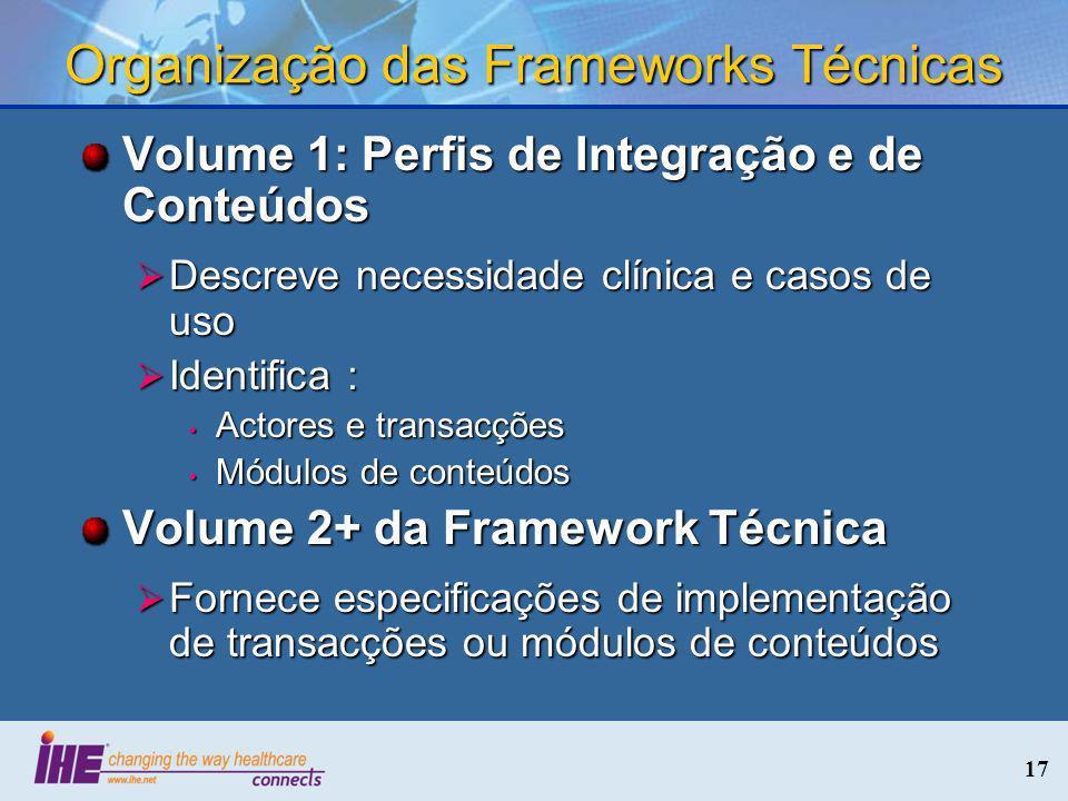 Organização das Frameworks Técnicas
