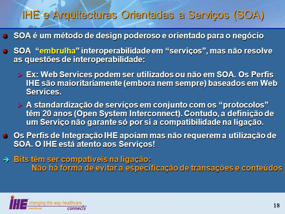 IHE e Arquitecturas Orientadas a Serviços (SOA)