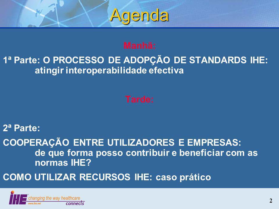 Agenda Manhã: 1ª Parte: O PROCESSO DE ADOPÇÃO DE STANDARDS IHE: atingir interoperabilidade efectiva.