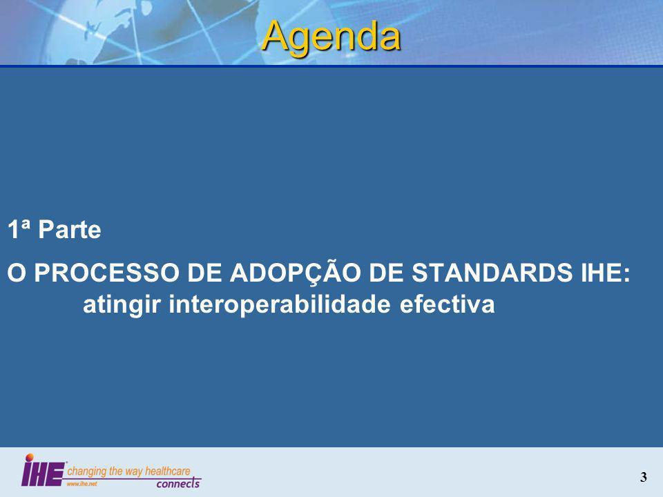 Agenda 1ª Parte O PROCESSO DE ADOPÇÃO DE STANDARDS IHE: atingir interoperabilidade efectiva 3 3