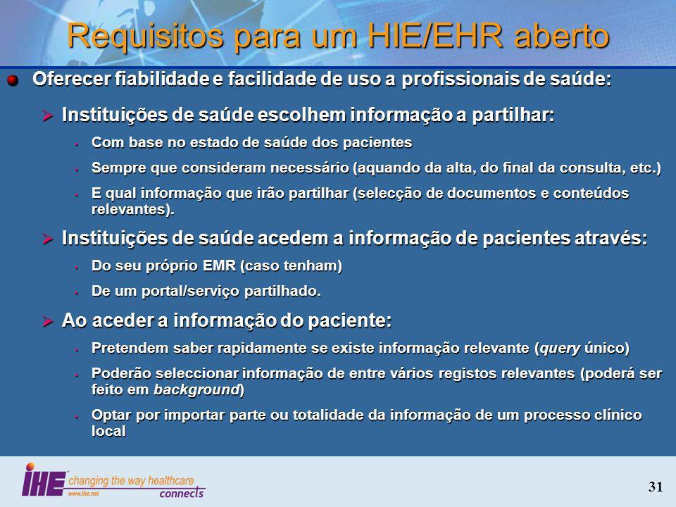Requisitos para um HIE/EHR aberto