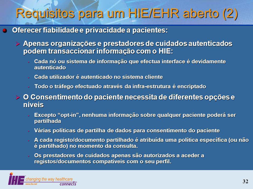 Requisitos para um HIE/EHR aberto (2)