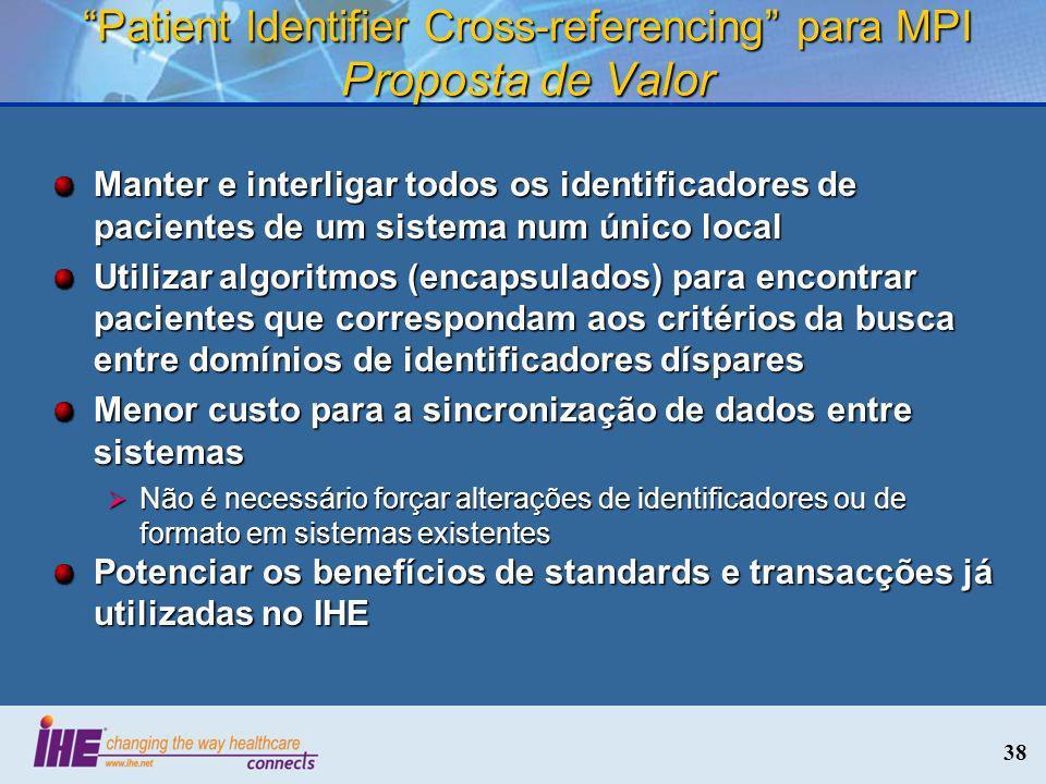 Patient Identifier Cross-referencing para MPI Proposta de Valor