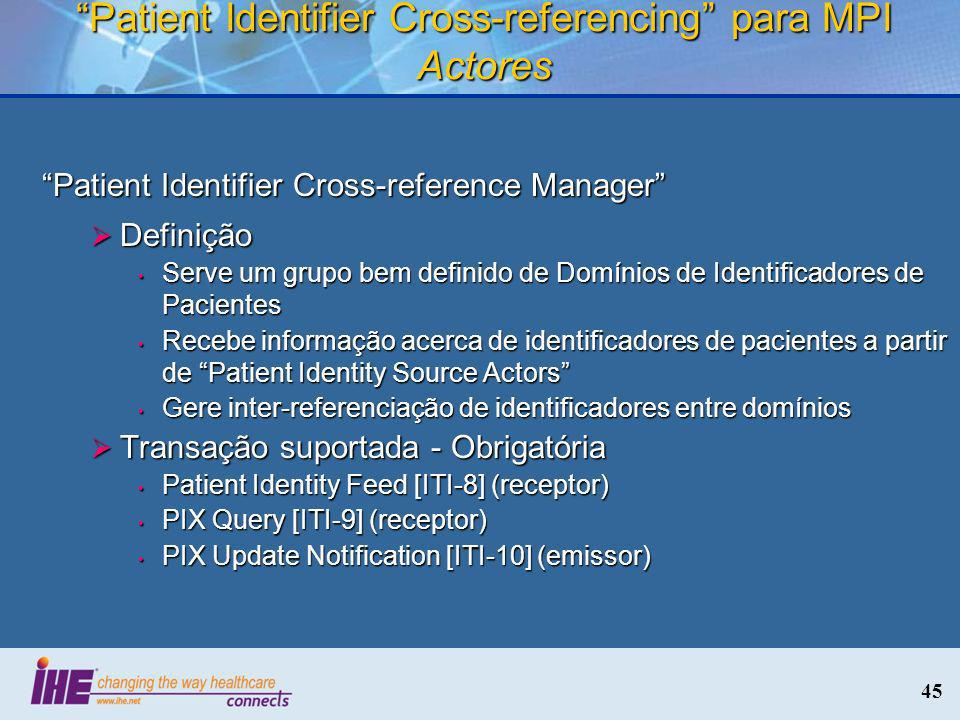 Patient Identifier Cross-referencing para MPI Actores