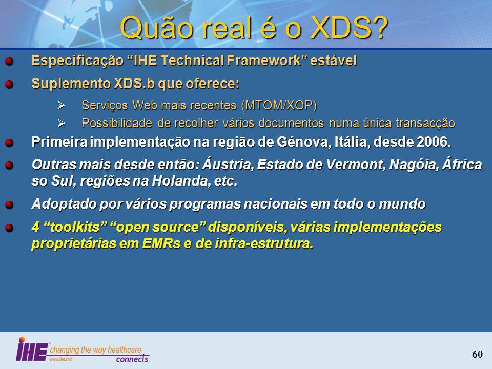 Quão real é o XDS Especificação IHE Technical Framework estável