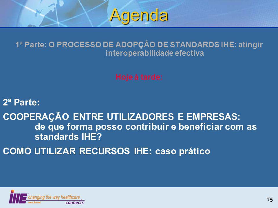 Agenda 1ª Parte: O PROCESSO DE ADOPÇÃO DE STANDARDS IHE: atingir interoperabilidade efectiva. Hoje à tarde: