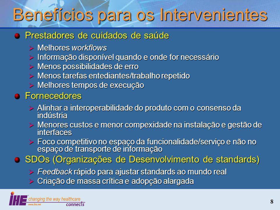 Benefícios para os Intervenientes