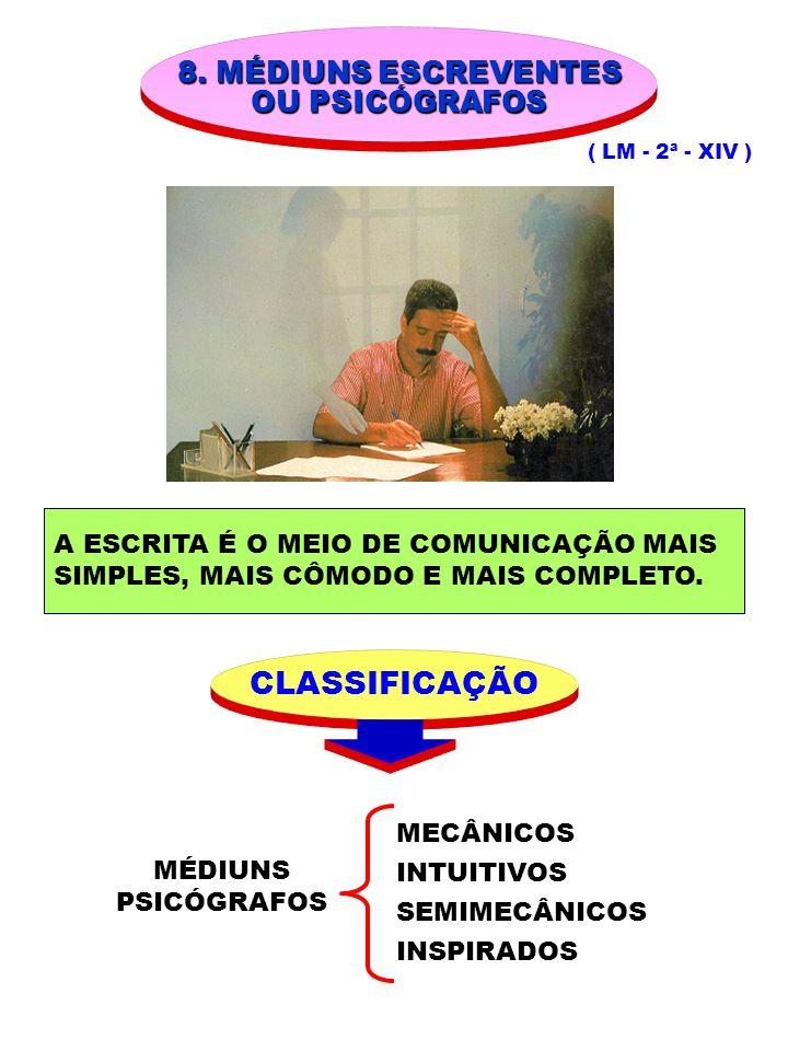 CLASSIFICAÇÃO 8. MÉDIUNS ESCREVENTES OU PSICÓGRAFOS