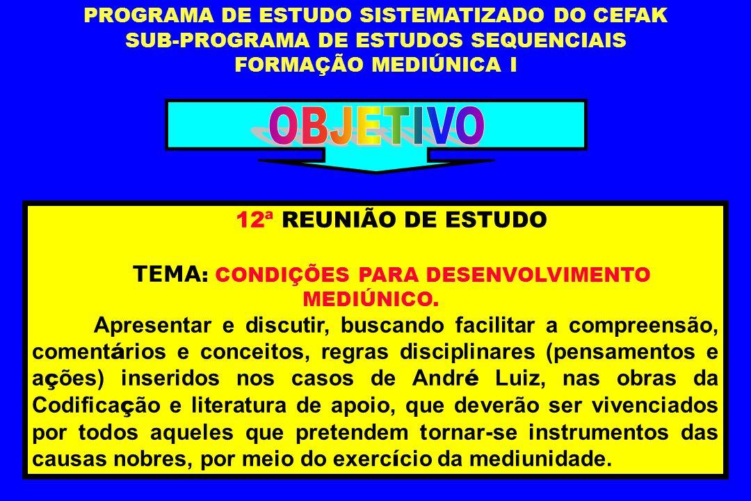 OBJETIVO 12ª REUNIÃO DE ESTUDO