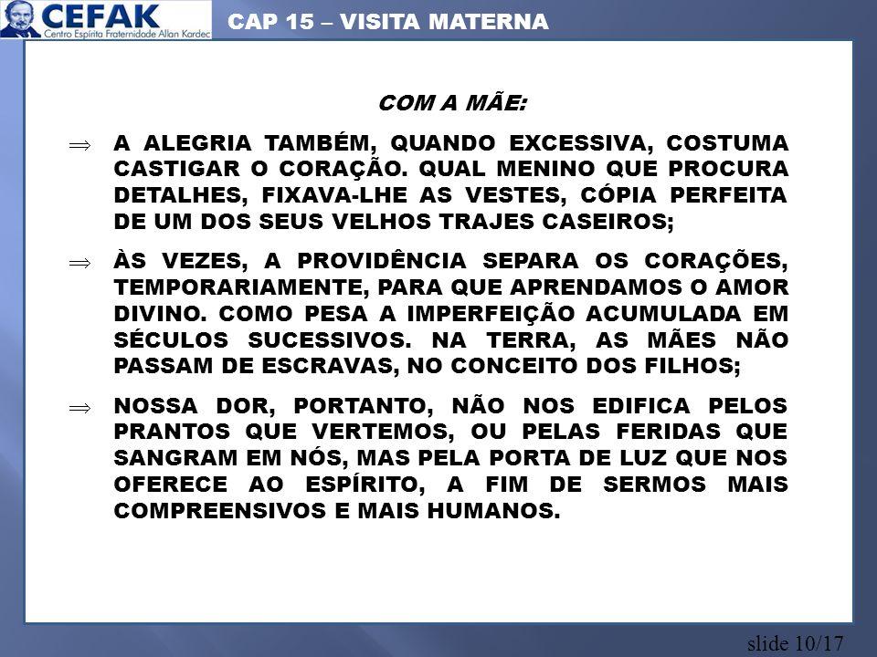 CAP 15 – VISITA MATERNA COM A MÃE: