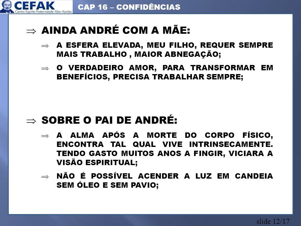 AINDA ANDRÉ COM A MÃE: SOBRE O PAI DE ANDRÉ: CAP 16 – CONFIDÊNCIAS