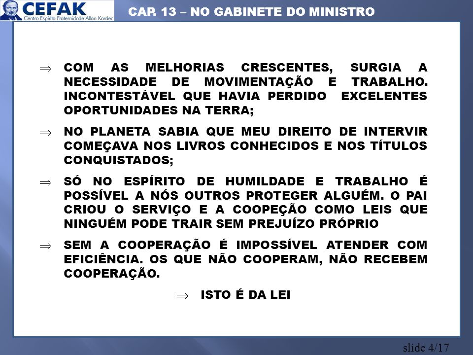 CAP. 13 – NO GABINETE DO MINISTRO